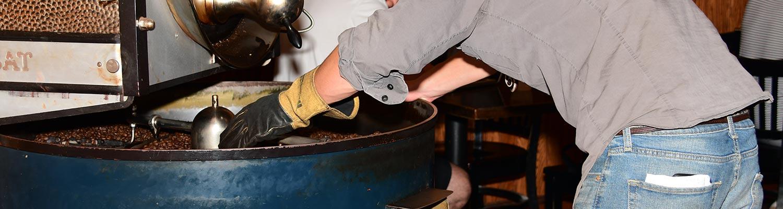 Freshly roasted coffee from Probat roaster