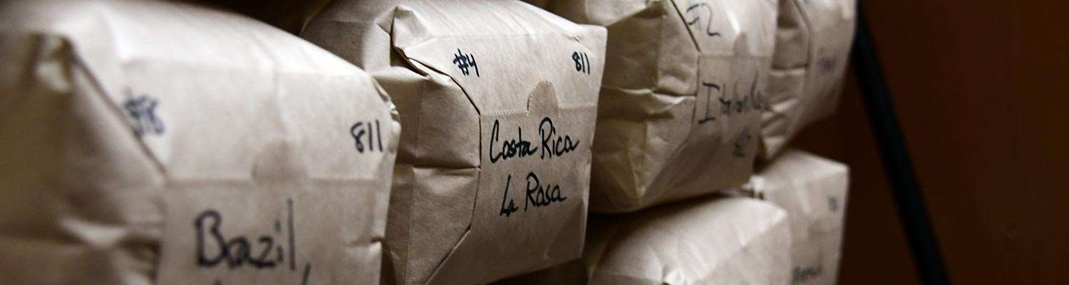 Bags of roasted coffee